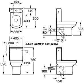 Унитаз-компакт напольный Roca Dama Senso Compacto 342518000
