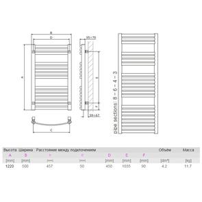 Полотенцесушитель электрический Terma DEXTER + TS 1220х500 мм