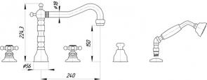 Смеситель на борт ванны Migliore Arcadia BN.ARC-8380