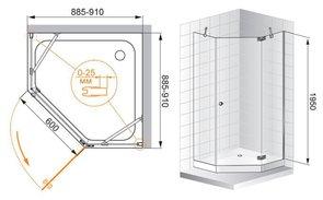 Душевое ограждение 900x900 CEZARES ELECTRA P1