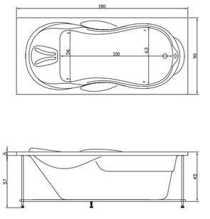 Ванна акриловая Акватика АТЛАНТИС 180x90