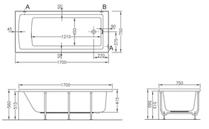 Ванна акриловая Vitra Neon 170х75 см арт. 52280001000