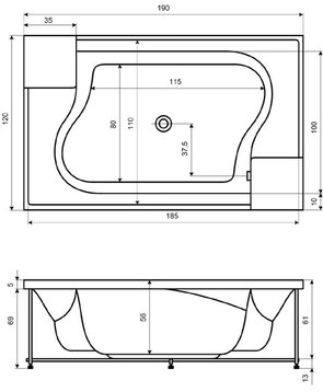 Ванна акриловая Акватика АРХИТЕКТУРА 190x120