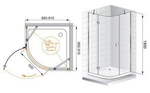 Душевое ограждение 900x900 CEZARES CRYSTAL R1