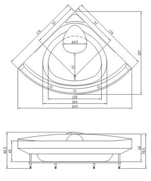 Ванна акриловая Акватика УЛЬТРА 173x173