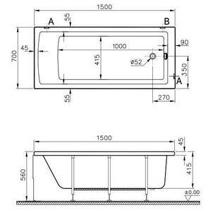 Ванна акриловая Vitra Neon 150х70 см арт. 52510001000