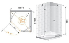 Душевое ограждение 900x900 CEZARES CRYSTAL P1