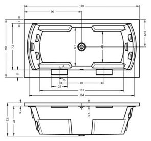 Ванна акриловая Riho Lisa 180х90х52/190 л с гидромассажем