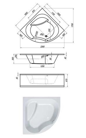 Ванна акриловая Kolpa-san SWAN 160х160 Basis