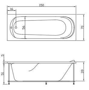 Ванна акриловая Акватика ЮНИОР 150x70