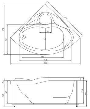 Ванна акриловая Акватика ПАНОРАМА 155x155