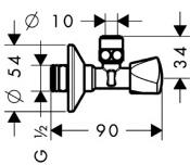Угловой вентиль с рукояткой Hansgrohe E-design 13902000