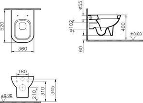 Унитаз подвесной VitrA Retro 5160В003-0075