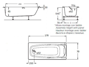 Ванна акриловая Roca Sureste 170х70 ZRU9302769